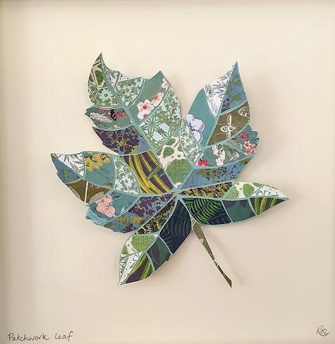 Paper collage patchwork leaf