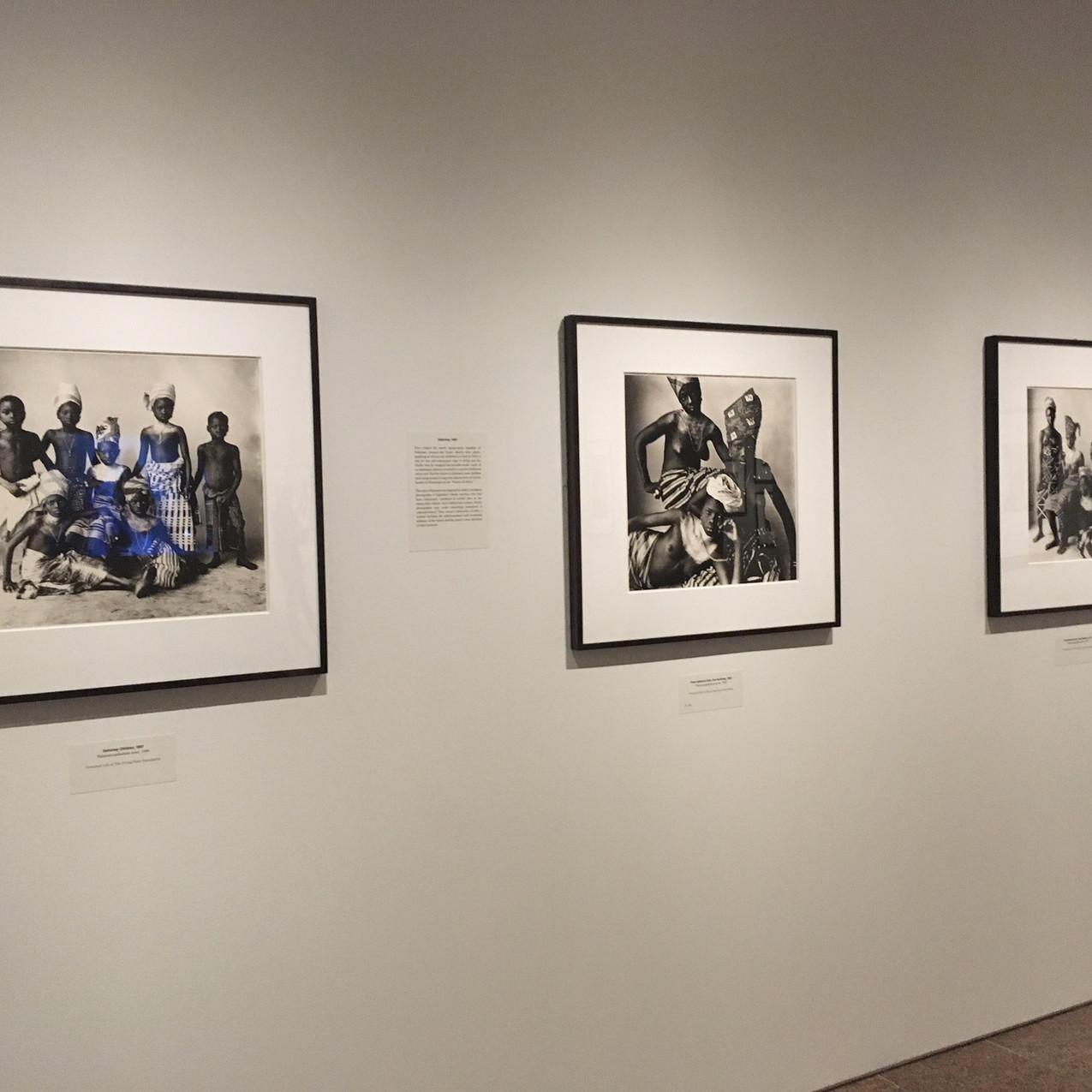 Irving Penn, Dahomey Children (1967) Platinum-palladium print, 22 x 26 in.  Irving Penn, Three Dahomey Girls, One Reclining (1967) Platinum-palladium print, 22 x 26 in.  Irving Penn, Five Dahomey Girls, Two Standing (1967) Platinum-palladium print, 26 x 22 in.