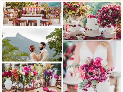 Mini wedding retrô e rustico em tons rose, marsala e verde.