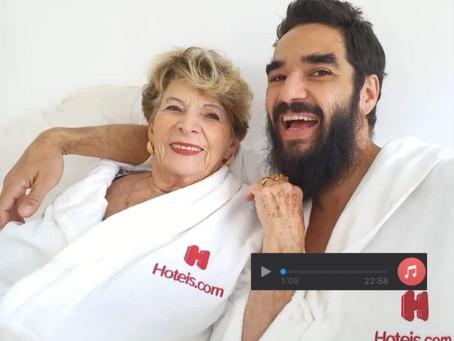 Após viralizar, avó de Caio Blat estrela campanha ao lado do ator