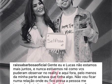 """Raissa Barbosa desabafa e anuncia término com Lucas Selfie: """"me travando de tudo"""""""
