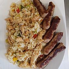 Kip gyros met rijst (paprika, courgette, ajuin)