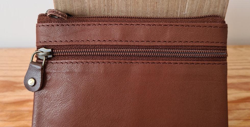 Porte monnaie plat marron mat
