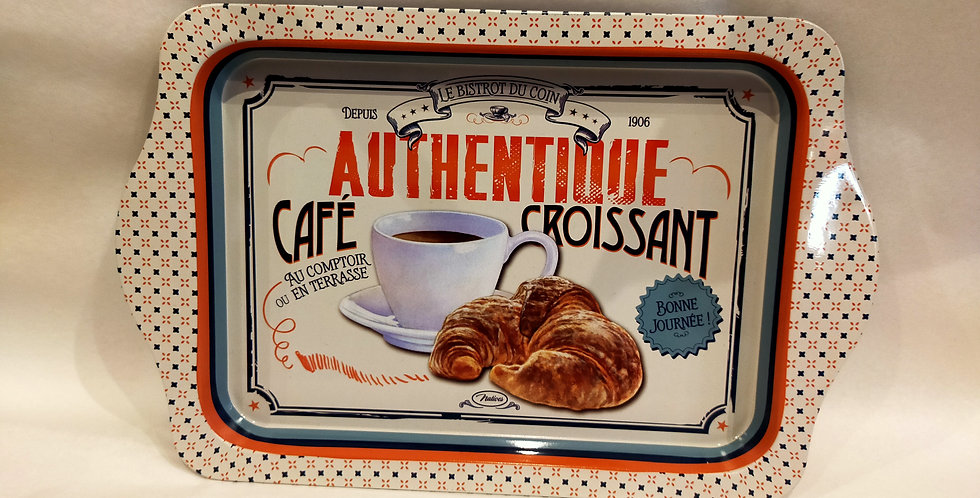 """Plateau rectangle """"Café croissant"""""""
