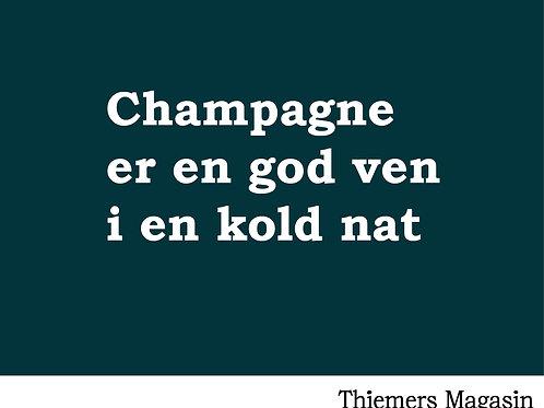 Mulepose. Champagne er en god ven i en kold nat.
