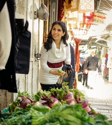 Reem Kassis the author at a market in Old City Jerusalem