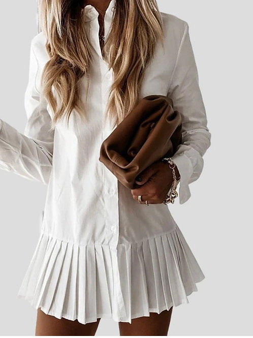 Simple & Chic, Solid Color Pleated Single-breasted Mini Dress Shirt