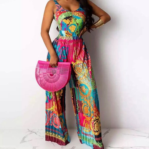 Sexy, Bold & Bright Colorful Jumpsuit With Pleated Legs