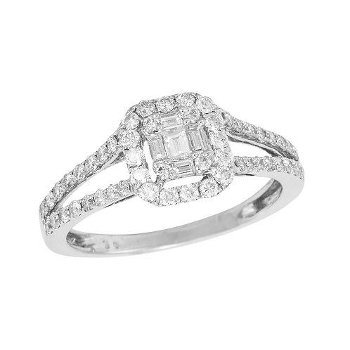 0.88 Ct. Baguette and Brilliant Cut Diamond Ring
