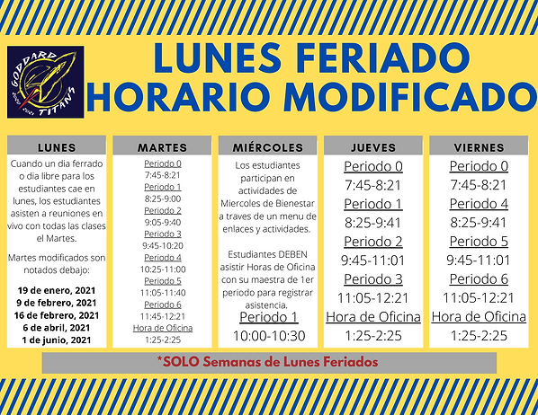 GMS Monday Holiday DL Schedule_Spanish.p