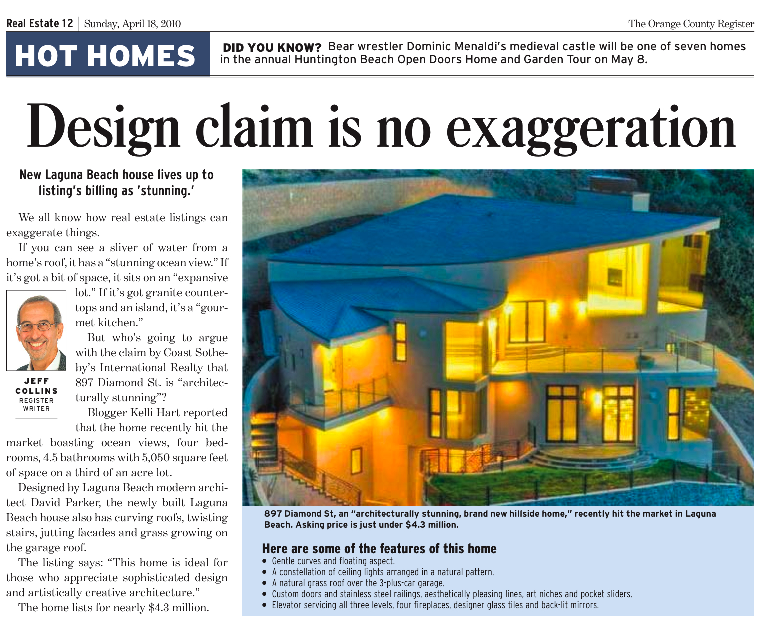 Editorial article featuring listing