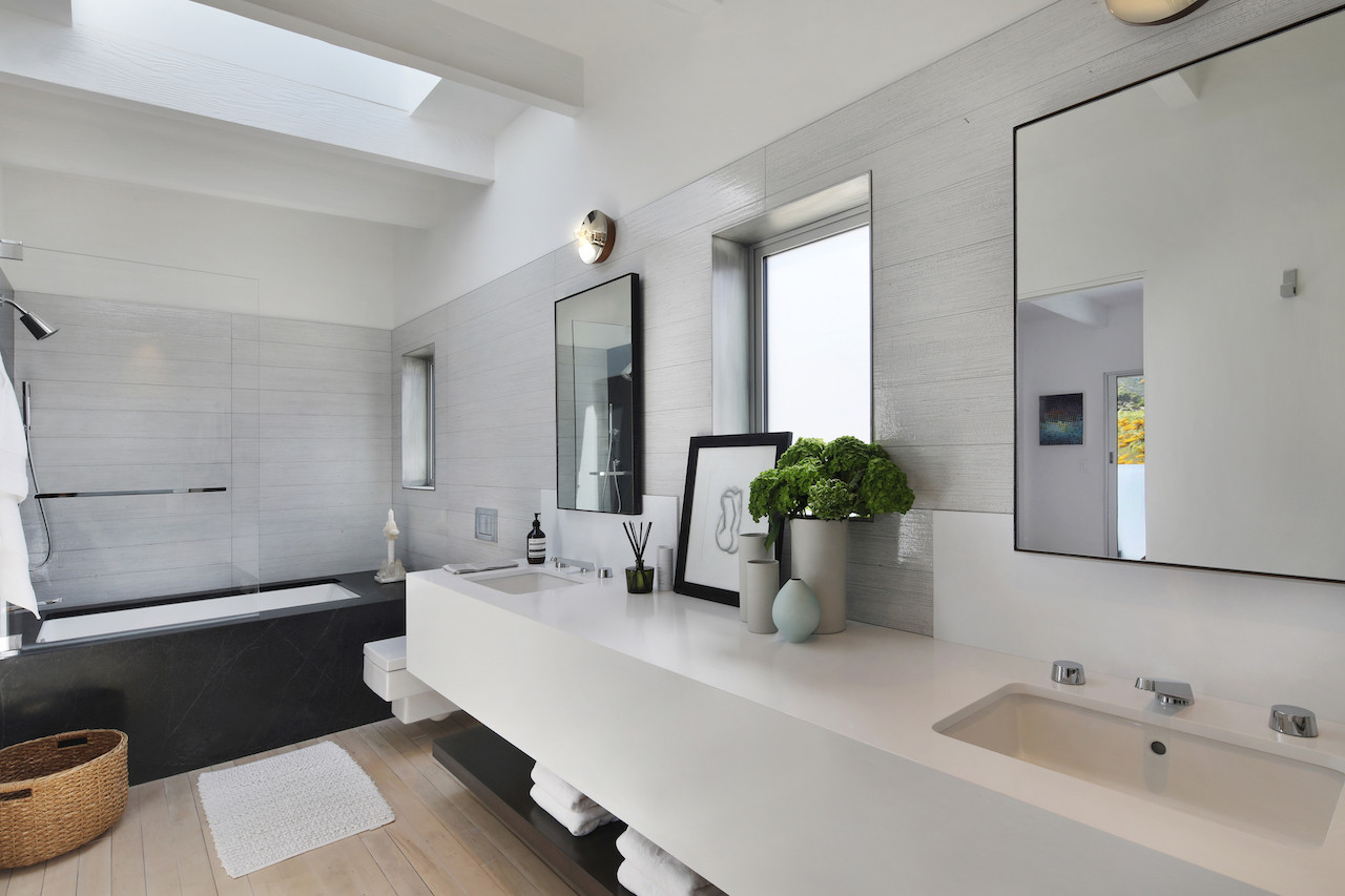 Upstairs master bath with skylight.