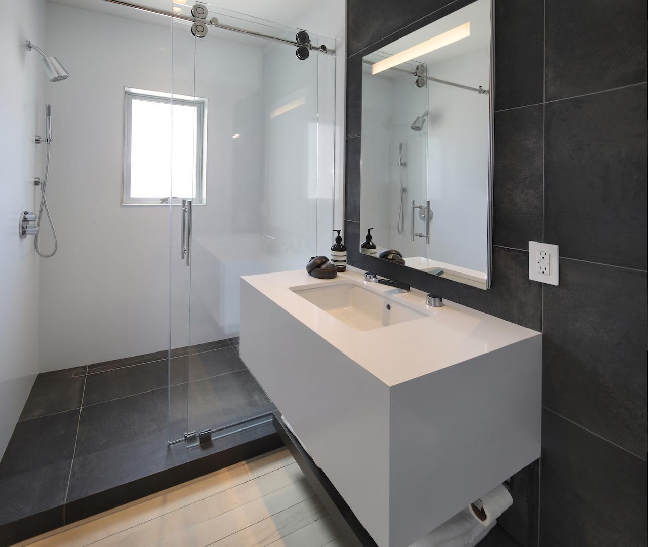 Powder room shaving shower.