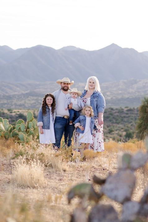Family photo session in desert