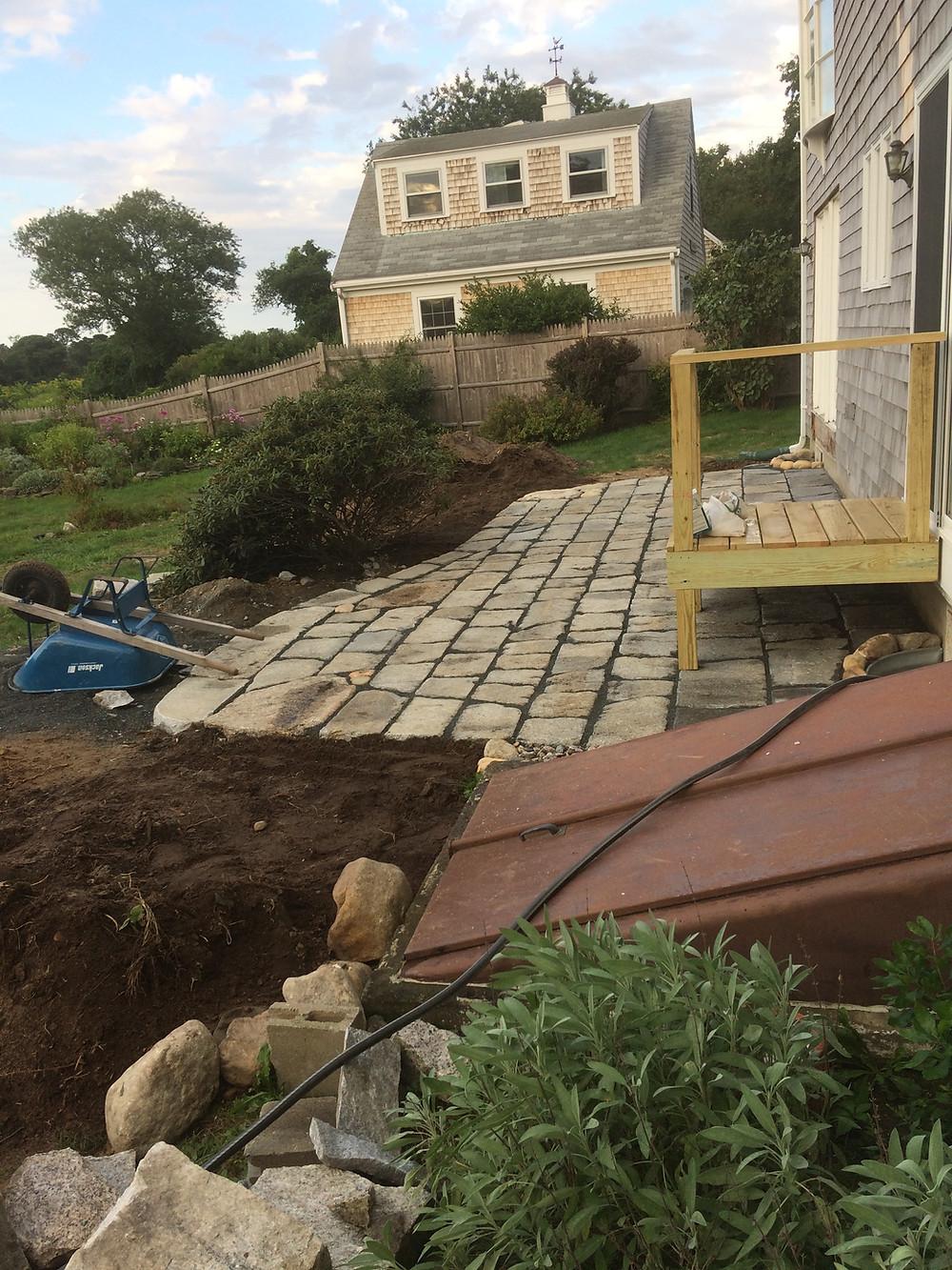 Cape Cod Stoneworks Reclaimed Granite Patio