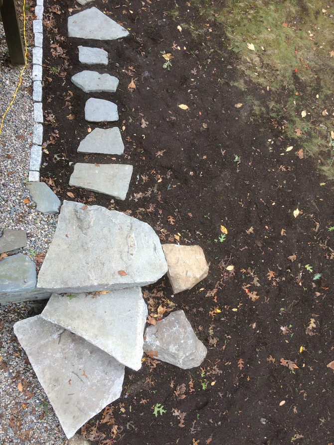 Spiral Reclaimed Granite Steps with Bluestone Steppers