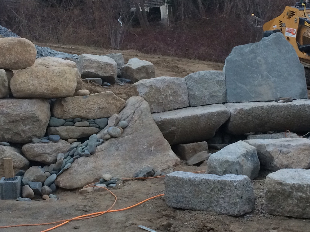 Granite Retaining Wall, Bench, Patio, and Firepit - Cape Cod Stoneworks