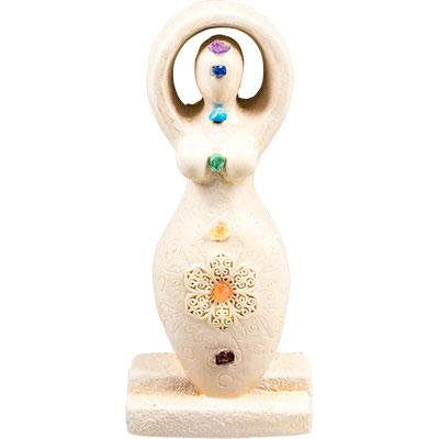 Gypsum Cement Goddess Figurine - Chakras