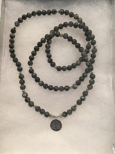Mala Prayer Beads - Black/Lotus