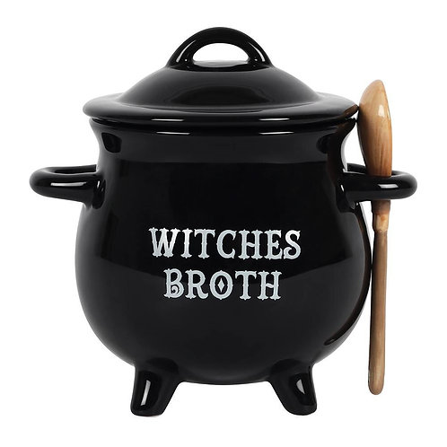 Witches broth soup cauldron with besom spoon!