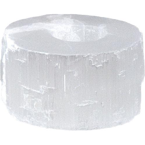 Gemstone T-Light Holder Falt White Selenite