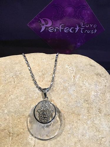 Hamsa Hand Stone Necklace - Clear Quartz