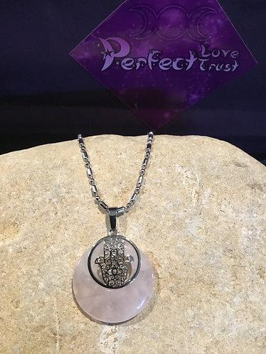 Hamsa Hand Stone Necklace - Rose Quartz