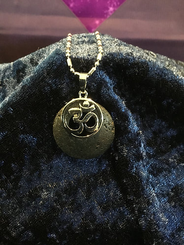 Om Stone Necklace - Lava Stone