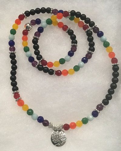Chakra Mala Prayer Beads - Tree of life