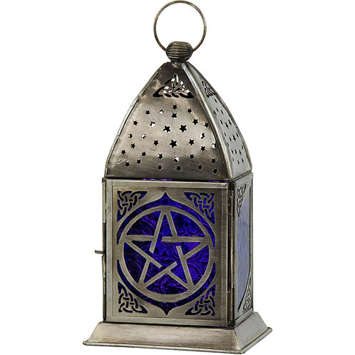 Glass & Metal Lantern Pentacle Gobalt & Purple