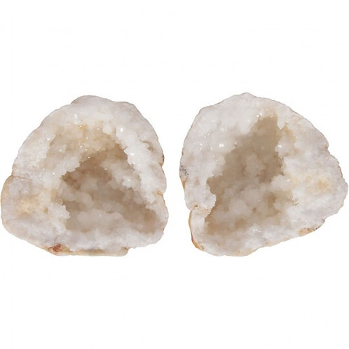 Rock Specimen Geode Matching Halves Crystal Calcite (pair)