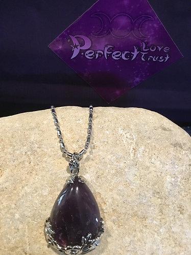 Stone Teardrop Necklace - Amethyst