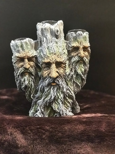 Green Man Triple Faced Candle