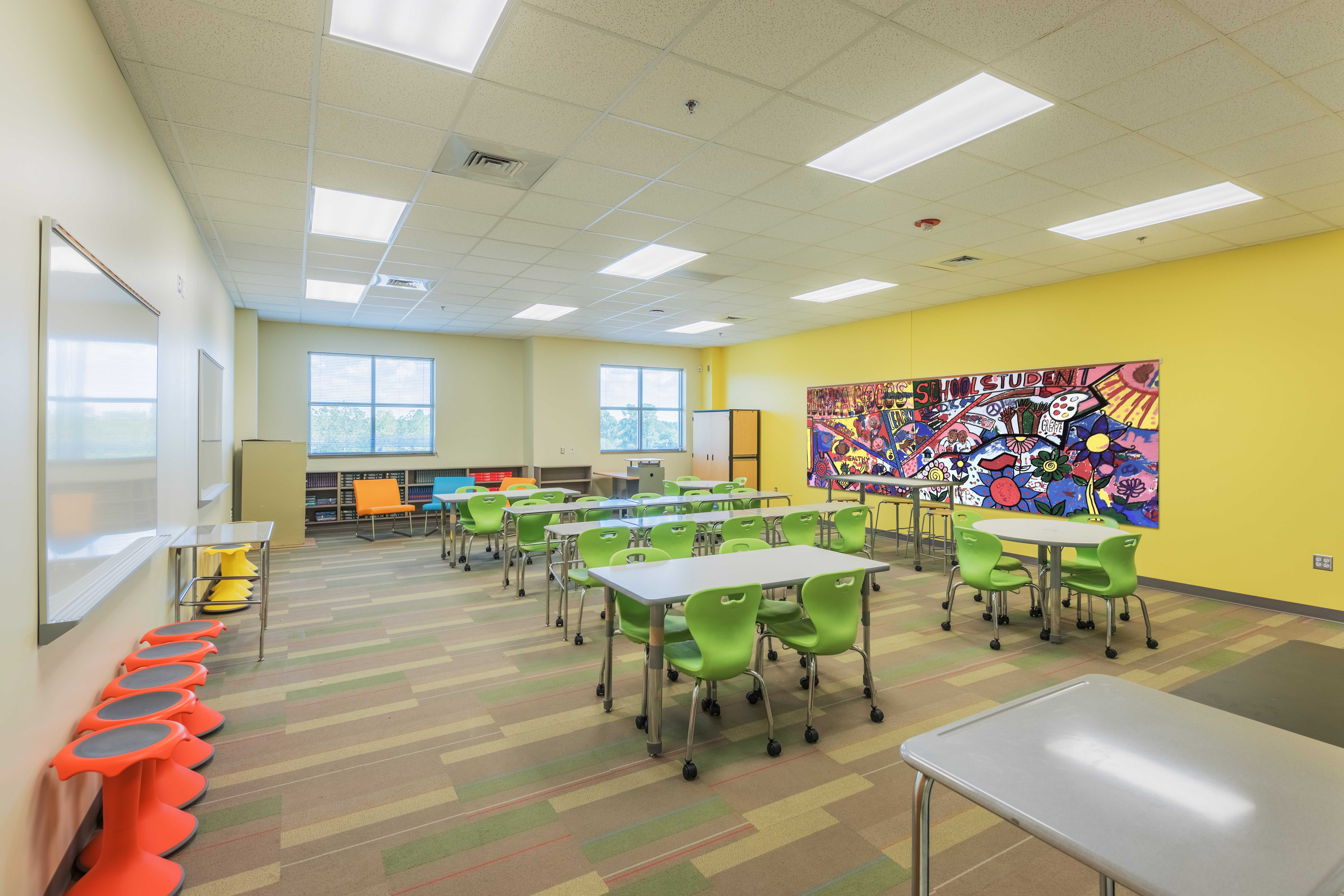 Classroom with mural