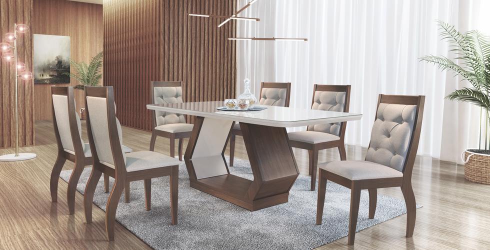 Sala de jantar Alvorada com cadeira Agata