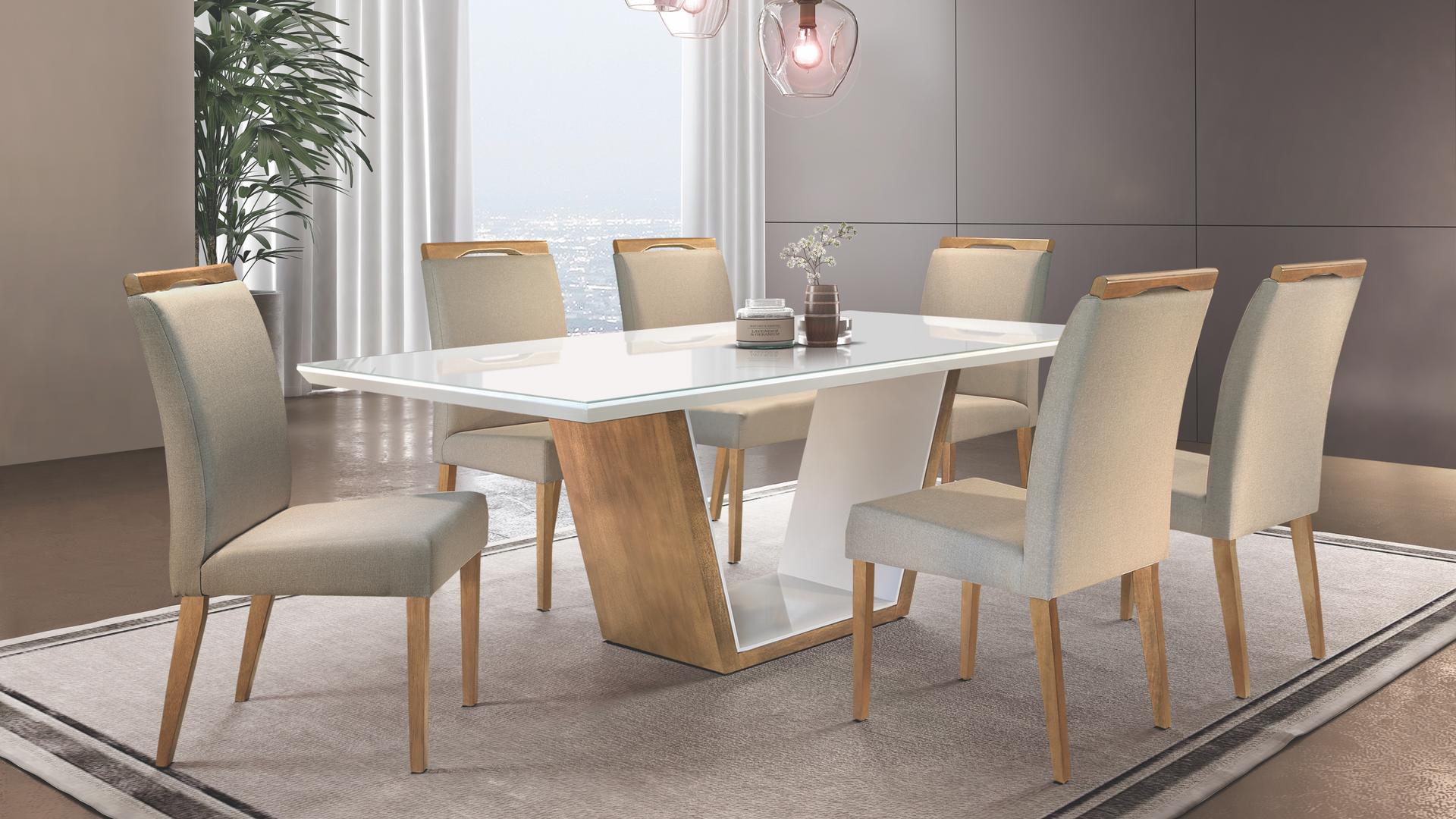 Sala de jantar Luna com cadeira Ciana