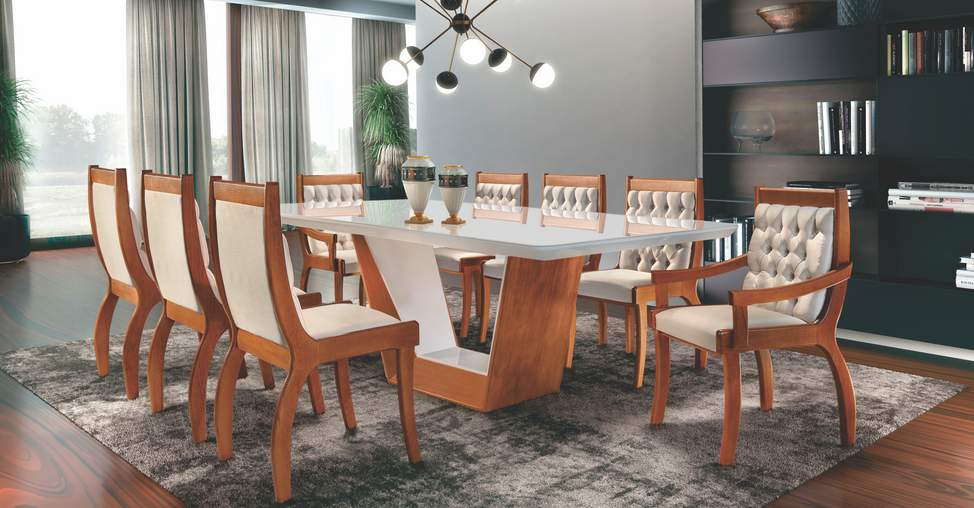 Sala de jantar Rubi com cadeira Pérola