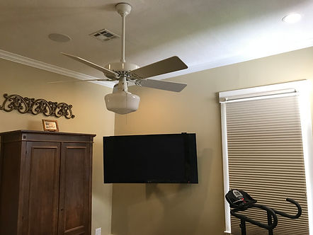 In-ceiling speakers and wall mounted TV