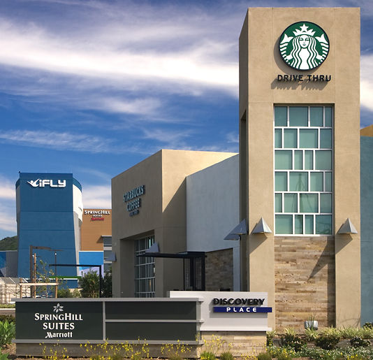 Discovery Place, indoor sky-diving, hotel, Starbucks, Spring Suites Hotel, iFly, Qualcomm Way and Camino de la Reina North, San Diego, CA 92108, Sudberry Properties