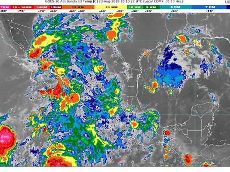 Para hoy se prevén lluvias puntuales muy fuertes en Nayarit, Jalisco,Durango, Zacatecas, Aguascalien
