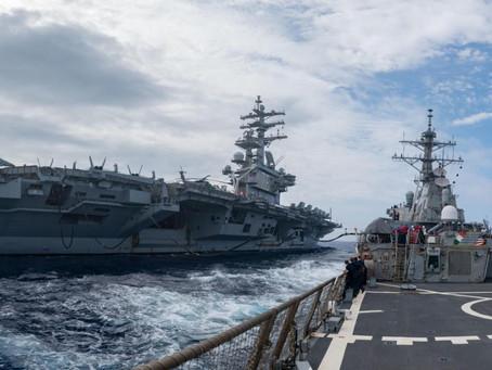Tres portaaviones de la Armada de EE.UU. patrullan el océano Pacífico al mismo tiempo.