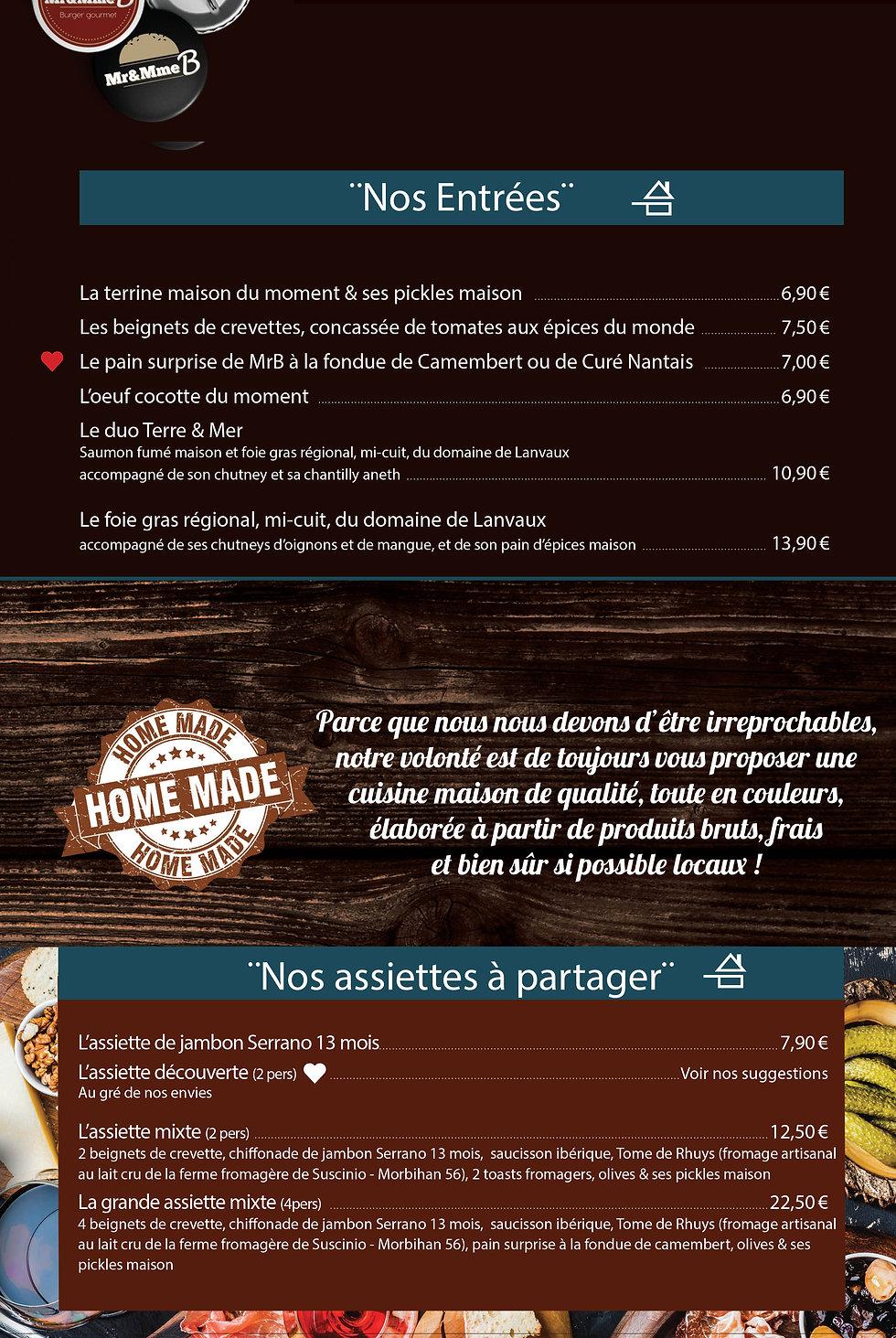 Brasserie Mr&Mme B - Savenay- Les entrées