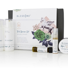 TSA Approved size travel skincare set with 5 mini natural products Certified Vegan and Cruelty Free Exceptionally pure herbal/botanical facial care endorsed by estheticians.   Great way to try new products, gift, or take skincare with you. Our Rescue Trial Skincare Set is just what you need to bring Blissoma with you for any adventure.