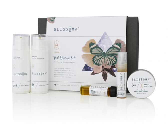 TSA Approved size travel skincare set with 5 mini natural products Certified Vegan and Cruelty Free Great way to try new products, gift, or take skincare with you Exceptionally pure herbal/botanical facial care endorsed by estheticians Our Renew Travel Skincare Set is just what you need to bring a little Blissoma skin love along