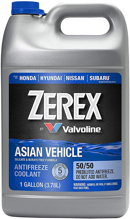 ZEREX ASIAN VEHICLE BLUE 50/50 ANTIFREEZE / COOLANT
