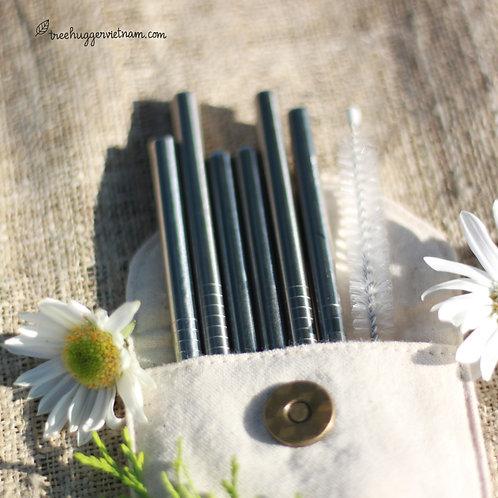 set 5 ống hút inox - stainless steel straws set of 5