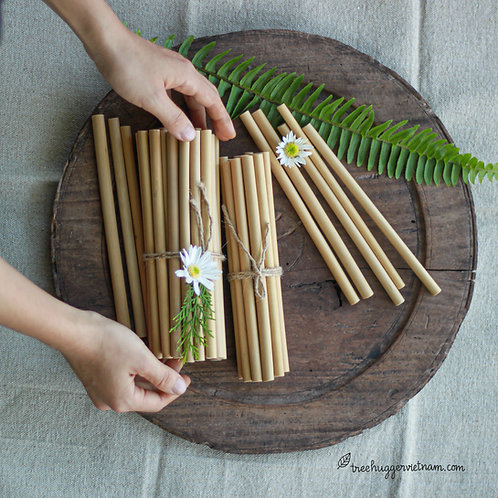 set 5 ống hút tre - bamboo straws set of 5