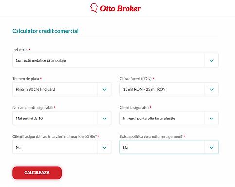 OTTO BROKER lanseaza un calculator online pentru simularea in timp real a costurilor pentru asigurarea riscului de credit comercial