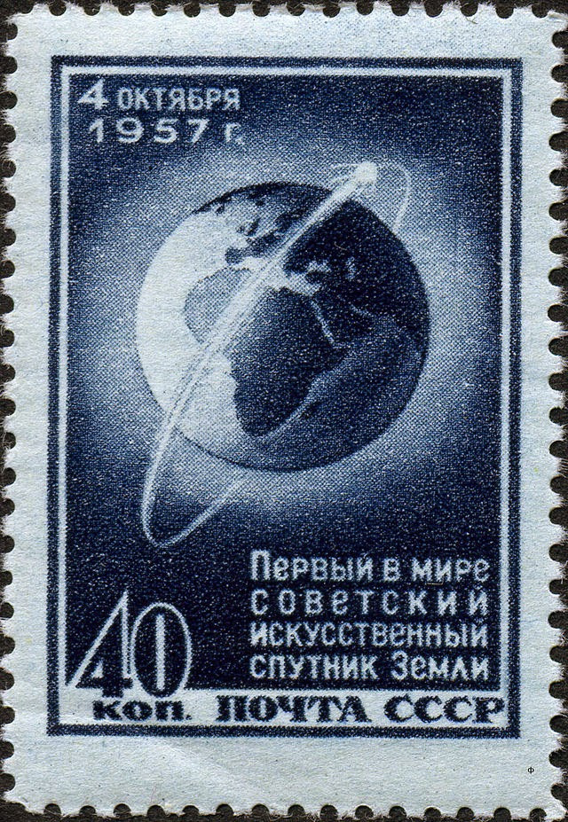 Soviet stamp celebrating Sputnik I