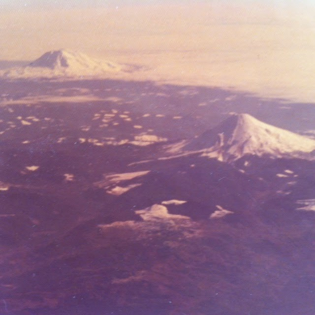 Mount Adams, left, and Mount St Helens, right